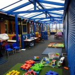 Inside the huge play area with the roller shutter doors down