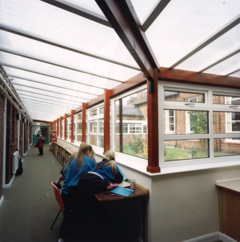 The first school corridor (of many) that was glazed with Multi-Link-Panels
