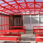 A canopy used as an outside eating area