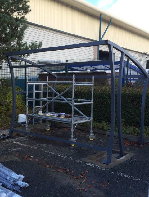 Aluminium frame in place