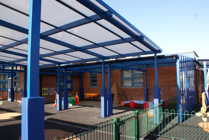 The extended canopies were designed so the original gutters take all the rainwater