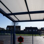 25mm opal multiwall polycarbonate glazing was specified in order to provide diffused light under the canopies