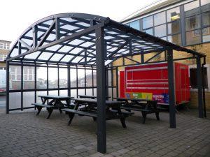 A school outside eating area
