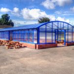 A large cover creates a huge school eating/socialising area