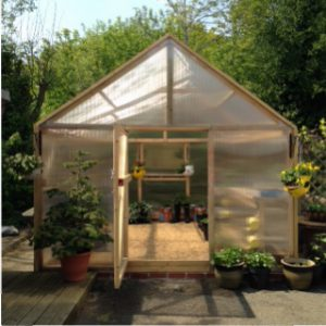 Front view of the 14'x11' greenhouse