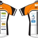 The brightly coloured riding shirts with their sponsors' logos
