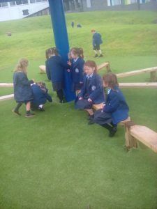 Classes 1a and b enjoying playtime in the outdoor classroom