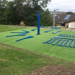 The framework laid out on the artificial grass